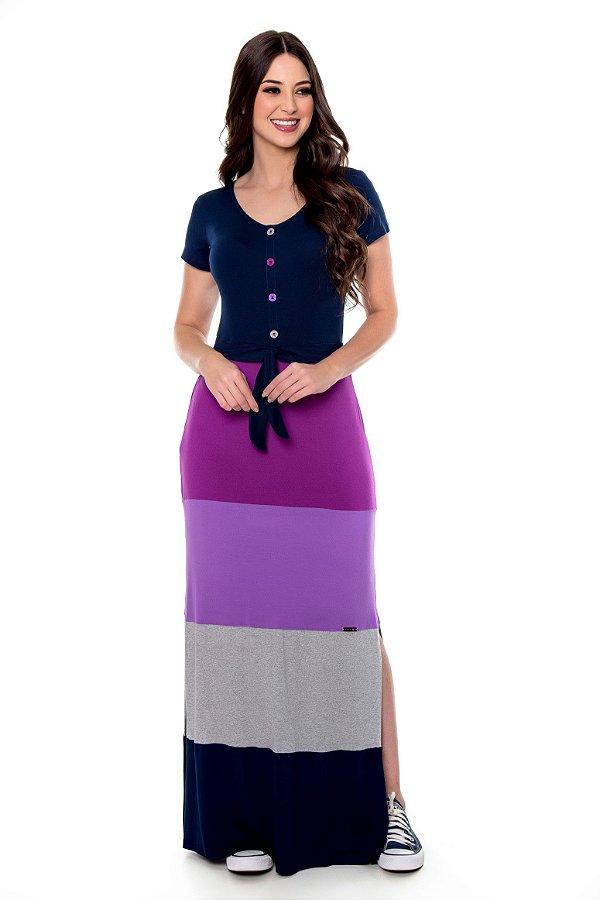 Vestido Longo de Malha Rec Color Blocking Manuela Hapuk - 60632