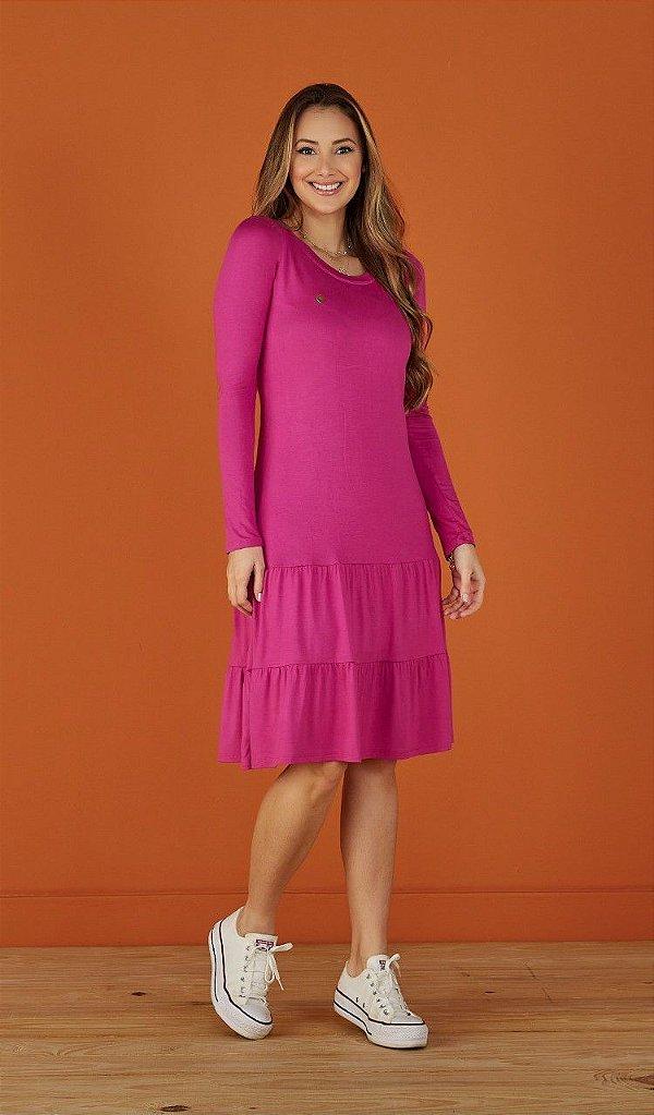 Vestido Evasê Manga Longa Duas Marias Pink Beth Tatá Martello - 8244