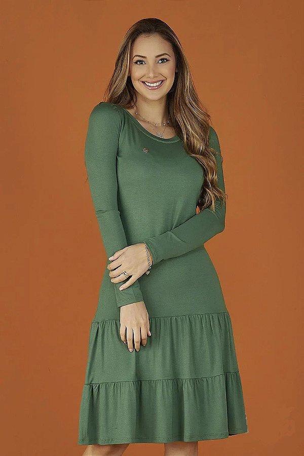 Vestido Evasê Manga Longa Duas Marias Verde Beth Tatá Martello - 8244