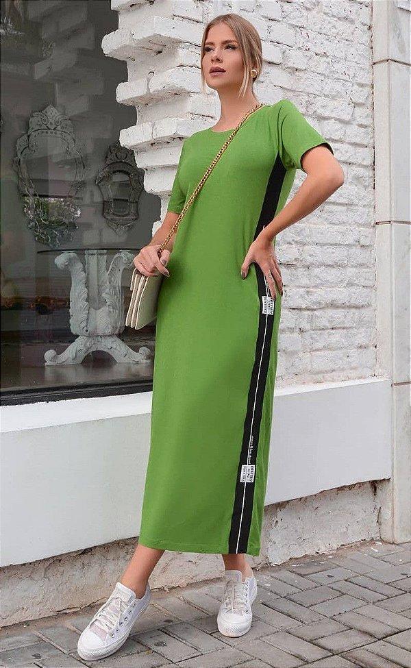 Vestido Midi Verde Em Moletinho Com Manga Curta - 2101