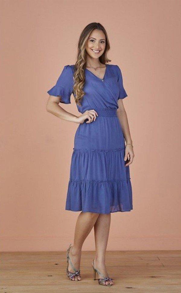Vestido Viscose com Babados Azul Fiorella Tatá Martello - 8055