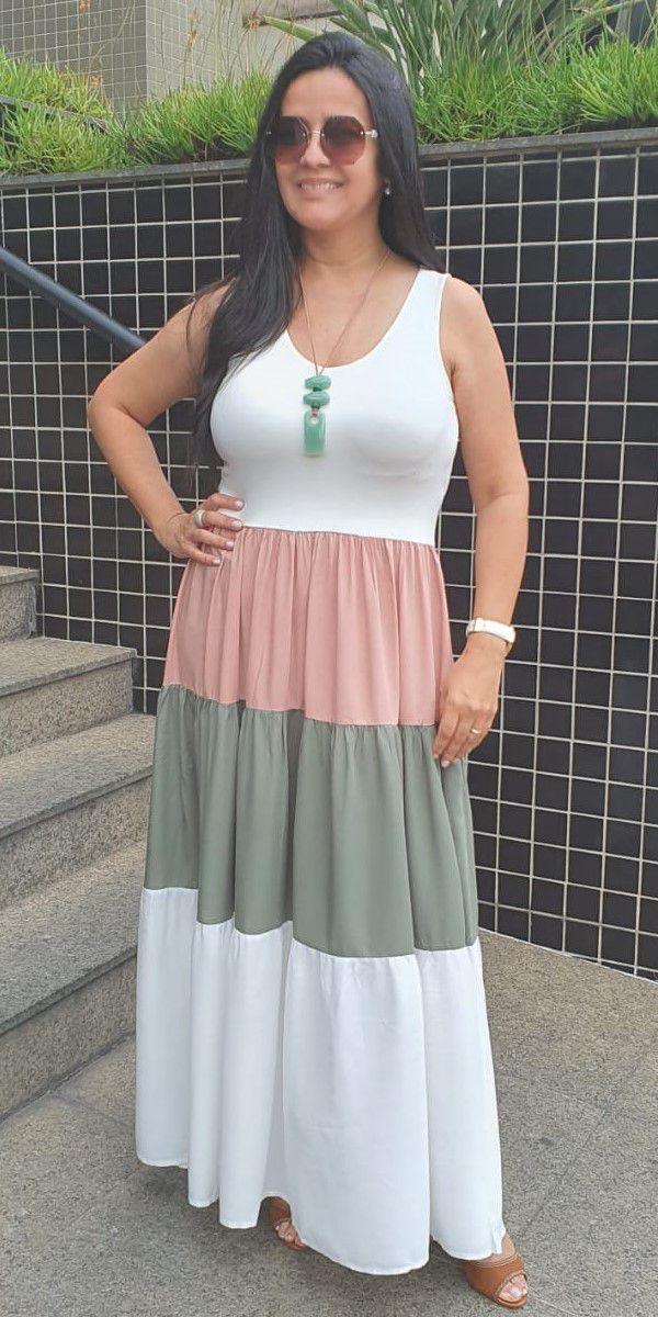 Vestido Regata Longo Três Marias Em Branco E Verde E Rosa Claro - MV2030