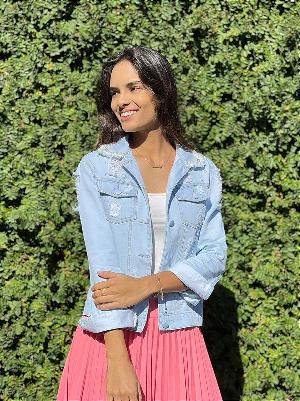 Jaqueta Jeans Destroyed Love Com Detalhes Em Pérolas E Strass - 517-1