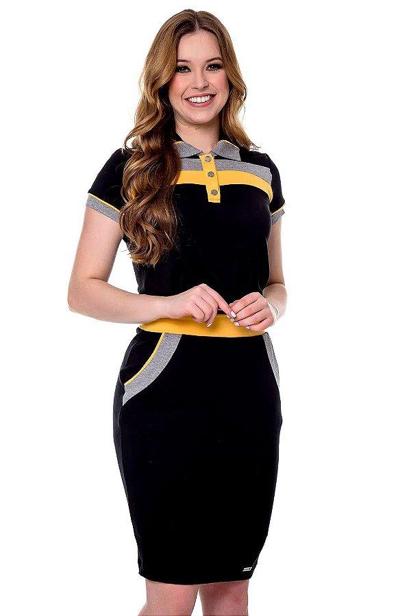 Vestido Gola Polo Em Malha Com Manga Curta E Recorte Amarelo Ariadne Hapuk - 60665