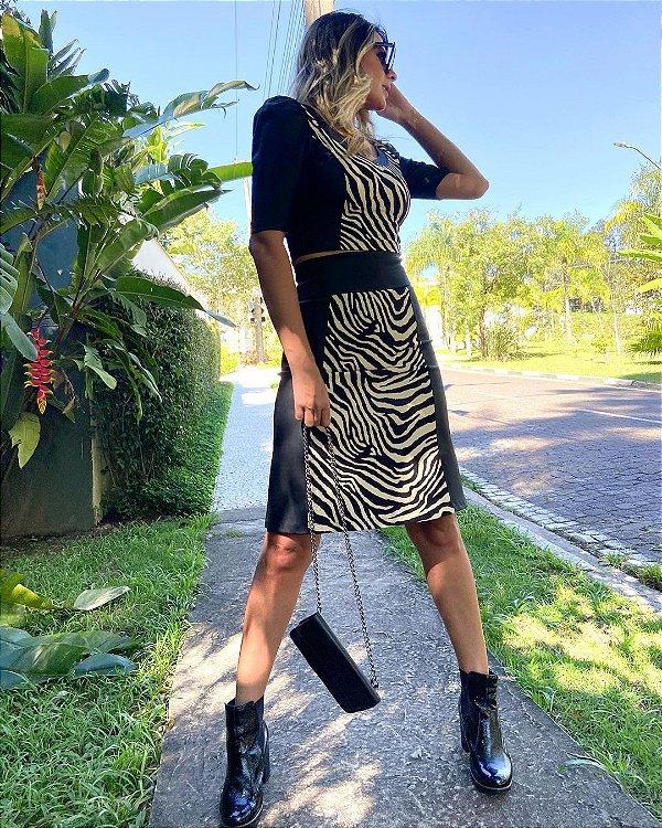 Saia Evasê Com Estampa De Zebra Em Couro Ecológico E Viscolinho - 121176