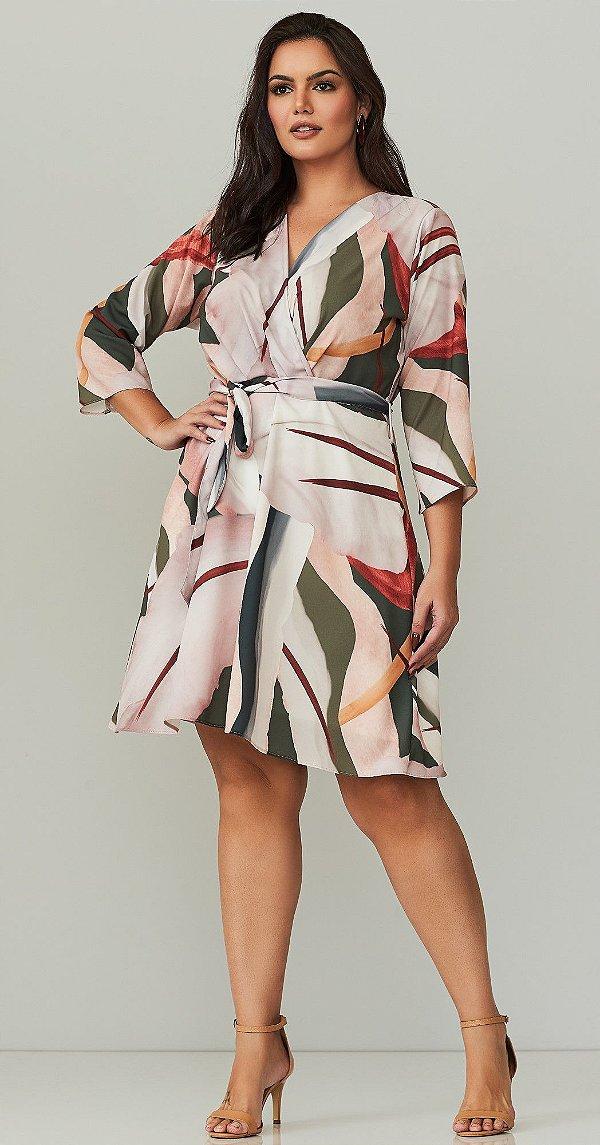 Vestido Estampado Transpassado E Acompanha Cinto Faixa Realist Plus - 1140114