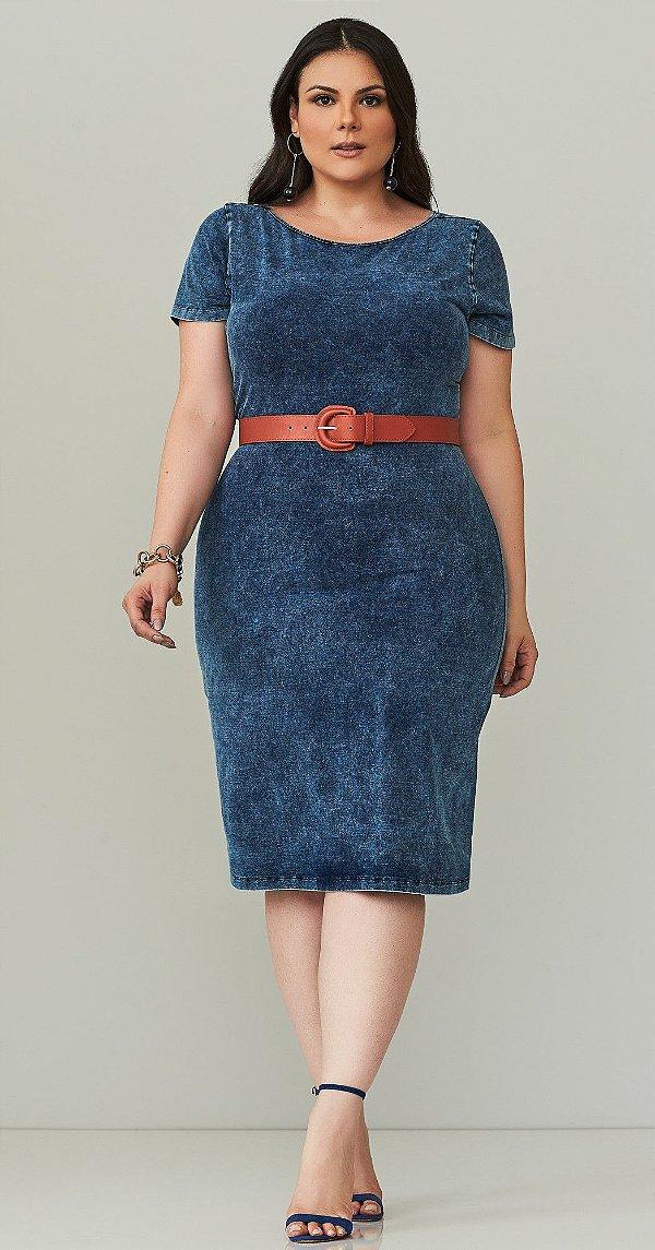 Vestido Azul Jeans Manga Curta Realist Plus - 1140175