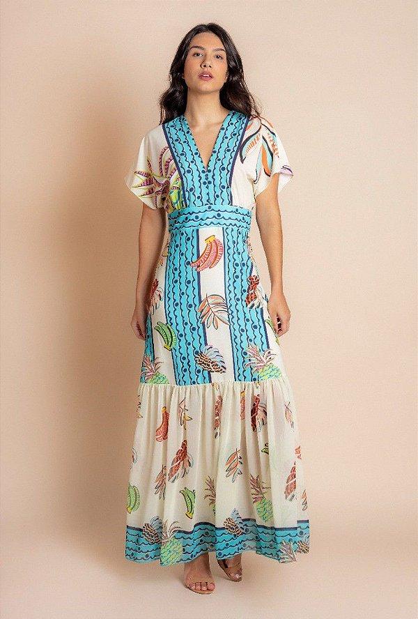 Vestido Longo Estampado Em Crepe Com Babado - 12489