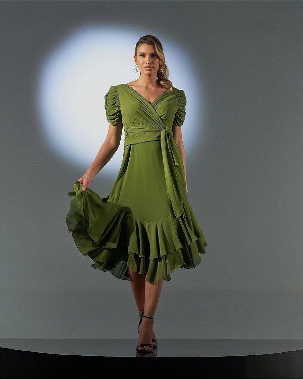 Vestido Midi Verde Em Chiffon Com Decote Transpassado Manga Drapeada E Babados - 2105035