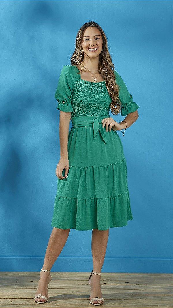 Vestido Três Marias Verde Em Crepe Com Lastex No Busto Tatá Martello - 8213