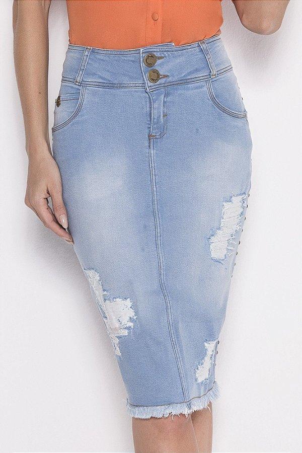 Saia Jeans Com Detalhe De Taxas E Barra Desfiada Laura Rosa - 89535