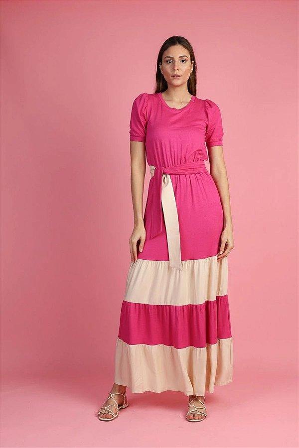 Vestido Longo Pink Com Recortes Nude Acompanha Cinto Faixa - ANB11106