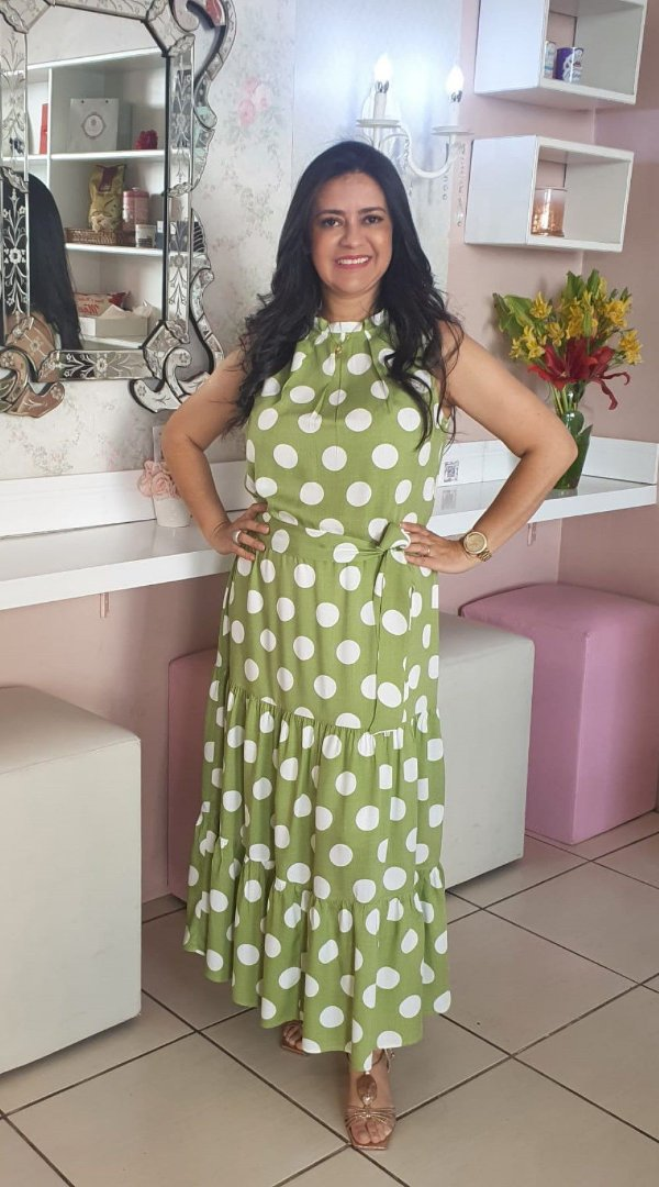 Vestido Regata Longo Verde Claro Com Poá Branco Em Viscose Três Marias Acompanha Cinto Faixa - 84821-72