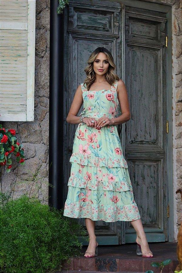 Vestido Regata Midi Floral Em Crepe Três Marias Com Babado - ANML828118
