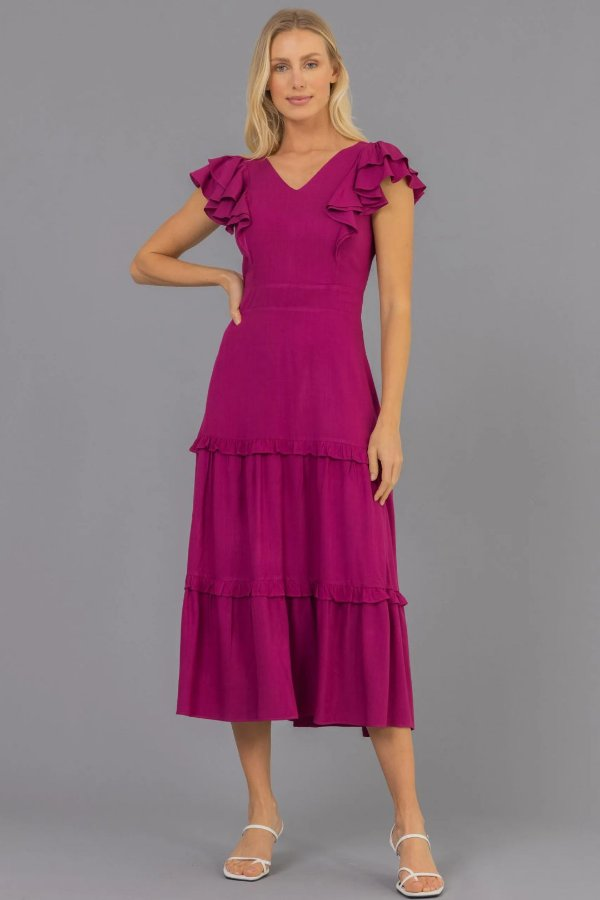Vestido Midi Fucsia Em Viscose Três Marias Com Babados - 81559-71