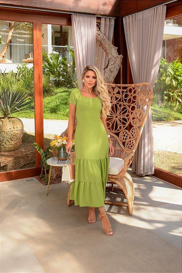 Vestido Midi Verde Em Crepe Com Decote Quadrado Duas Marias Gioconda Portto- 093631