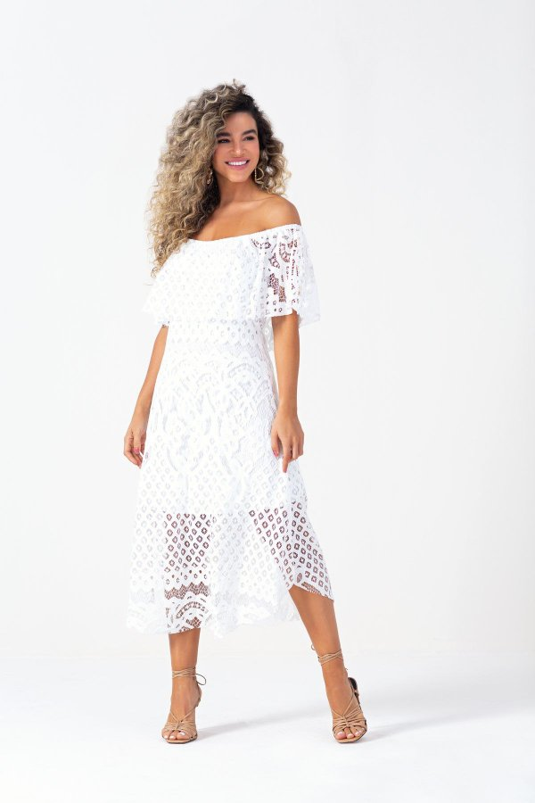 Vestido Midi Ciganinha Off White Em Renda - 102684