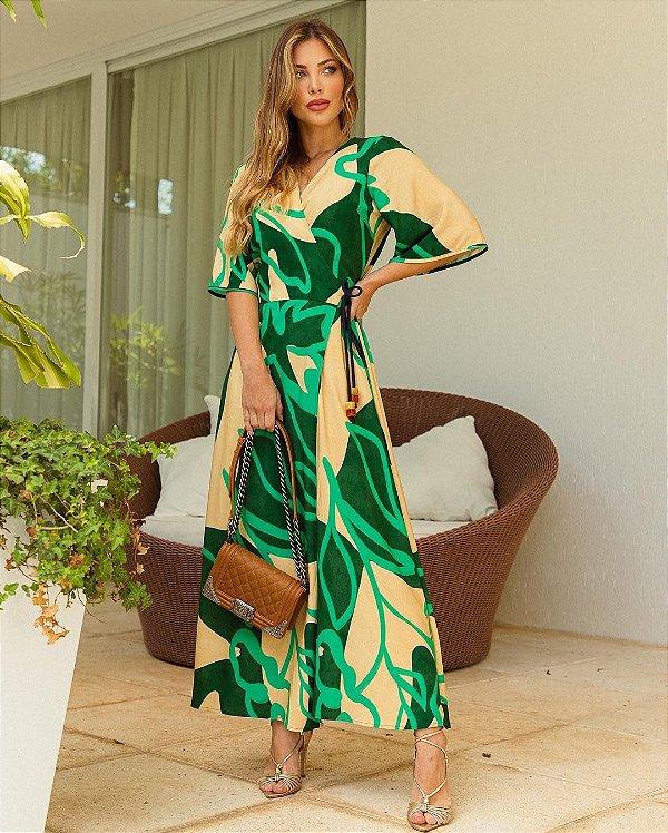 Vestido Envelope Longo Estampado Em Viscose Com Detalhe De Ponteiras - 210377