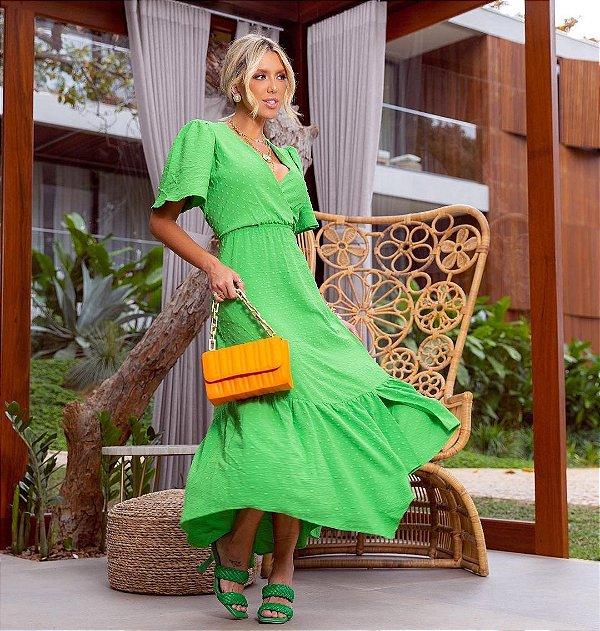 Vestido Maxi Midi Verde Transpassado Com Textura Em Poá E Recortes Na Barra - 210401