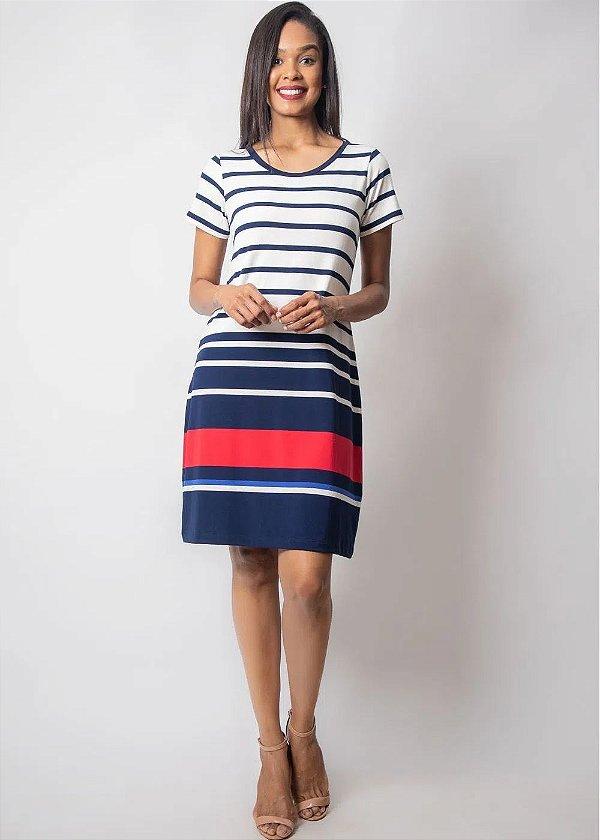 Vestido Listrado Em Viscolycra Com Leve Evasê E Detalhes Em Azul Claro E Vermelho Plus - 9463