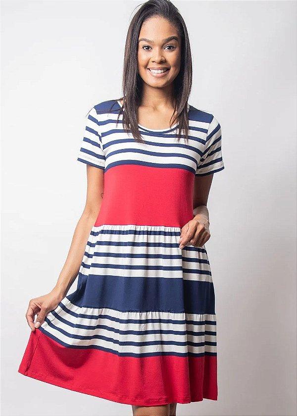 Vestido Com Recortes E Com Listras Azul Marinho E Vermelho Plus - 9027
