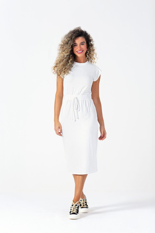 Vestido Midi Off White Em Molecotton Com Detalhe Em Amarração - 102742