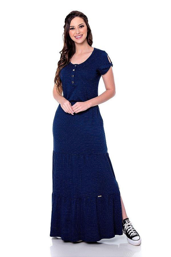 Vestido Longo Duas Marias Azul Marinho Com Abotoamento Frontal E Fendas Laterais Hapuk - 60704