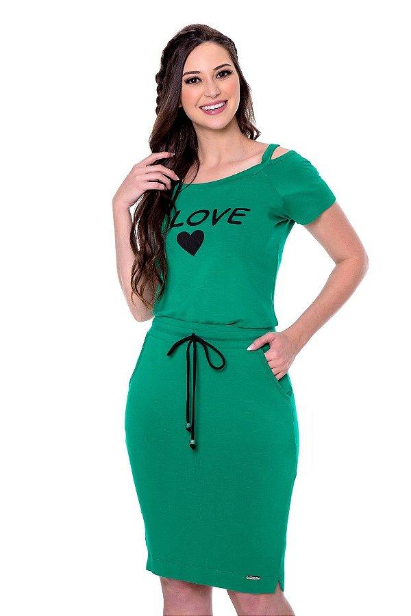 Conjunto Verde Em Moletinho De Saia E Blusa Com Vazado Nos Ombros E Estampa Silk Hapuk - 49245