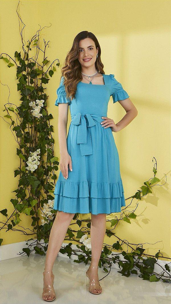 Vestido Midi Azul Em Viscolinho Com Babados E Acompanha Cinto Faixa Jany Pim - V501009