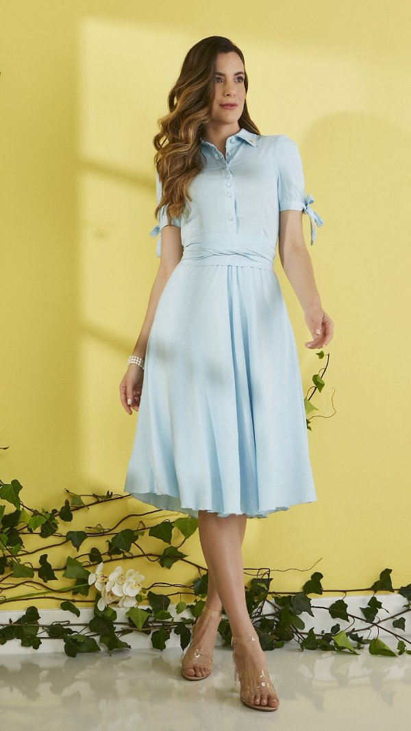 Vestido Midi Godê Azul Claro Em Viscolinho Acompanha Cinto Faixa Jany Pim - V501026