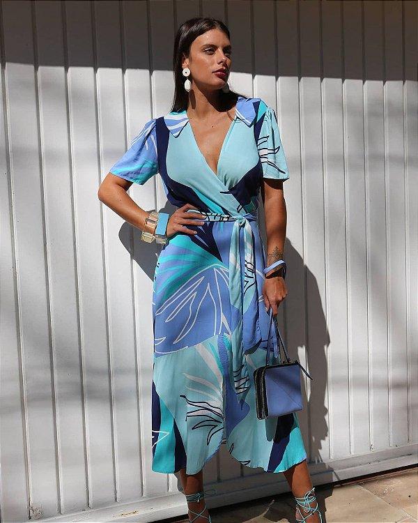 Vestido Midi Transpassado Estampado Com Fenda Central Acompanha Cinto Faixa - 2373