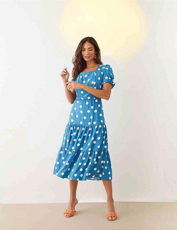 Vestido Midi Três Marias Em Viscose Azul Com Poá Off White - 00589