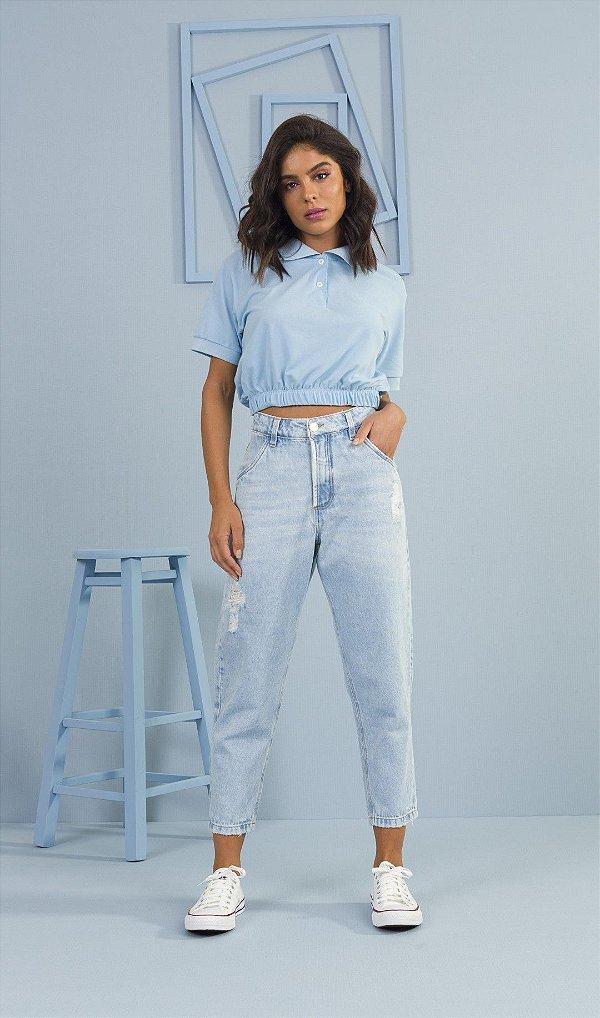 Calça Jeans Mom Destroyed Com Detalhes Em Puídos Ziann Jeans - 27071