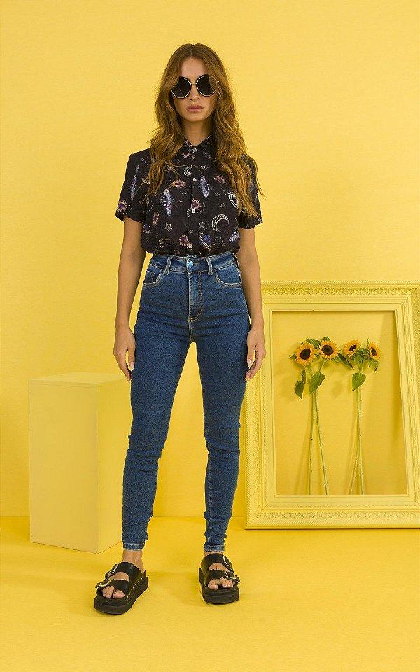 Calça Jeans Super Skinny Cintura Alta Com Bolsos Frontais E Traseiros Ziann Jeans - 27089