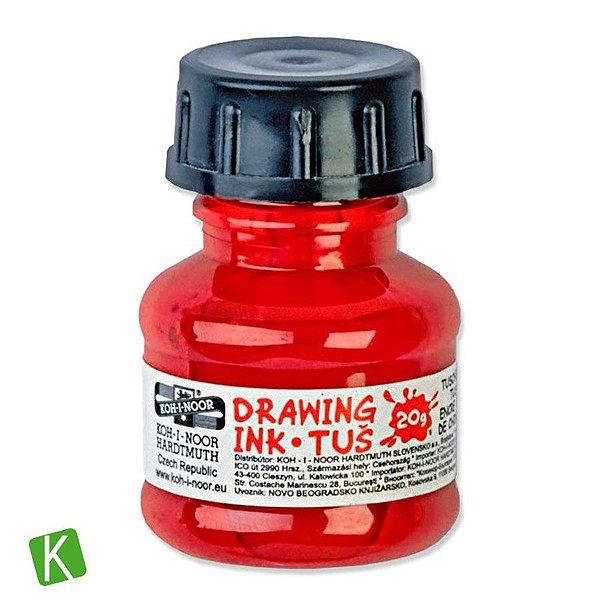 Tinta Drawing Ink para Caligrafia Koh-I-Noor Vermelha 20g
