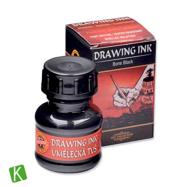 Tinta Drawing Ink para Caligrafia Koh-I-Noor Preto Bone 20g