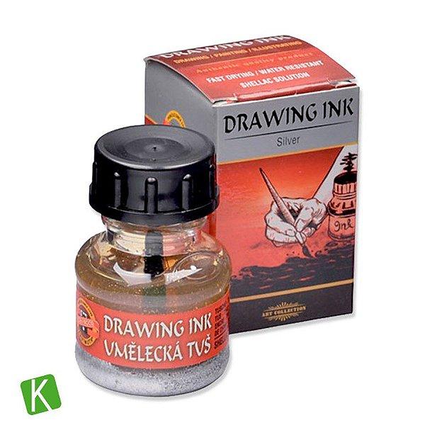 Tinta Drawing Ink para Caligrafia Koh-I-Noor Prata 20g