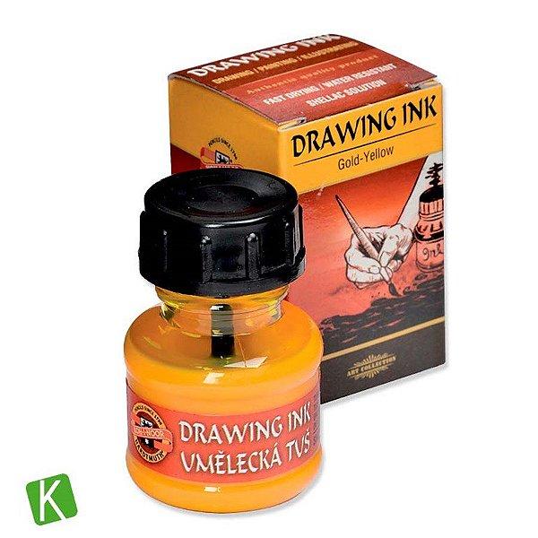 Tinta Drawing Ink para Caligrafia Koh-I-Noor Amarelo Ouro 20g