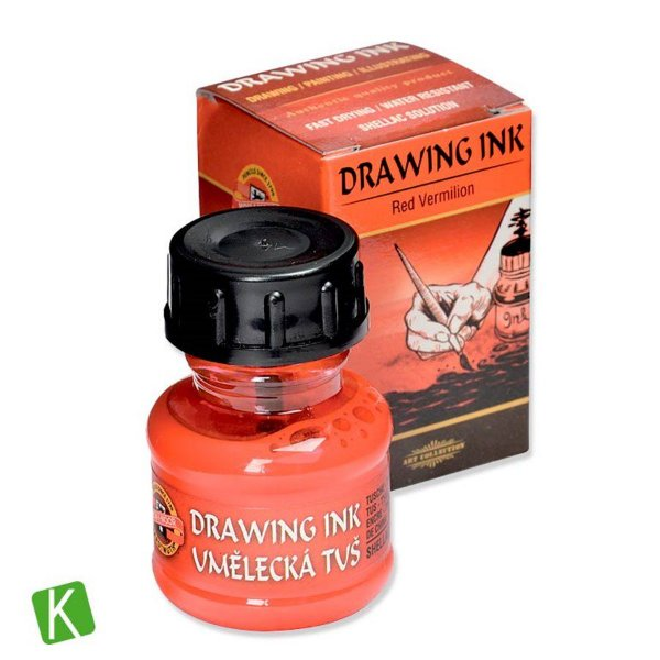 Tinta Drawing Ink para Caligrafia Koh-I-Noor Vermelho 20g