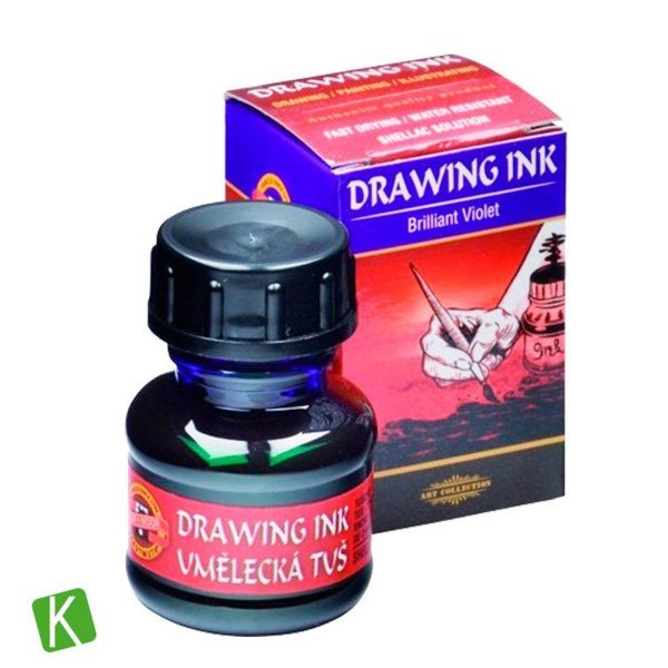 Tinta Drawing Ink para Caligrafia Koh-I-Noor Violeta Brilhante 20g