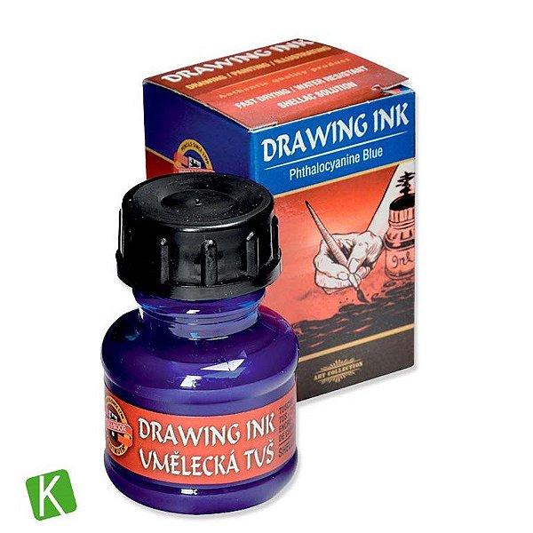 Tinta Drawing Ink para Caligrafia Koh-I-Noor Azul 20g