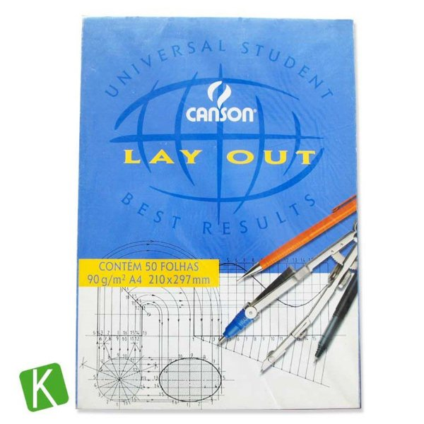 Bloco Papel Canson Layout A4 90g/m² 50 Folhas