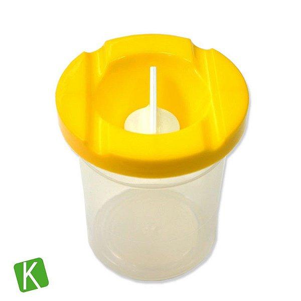 Pote de Plástico Lava Pincel com Tampa Keramik