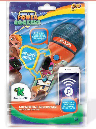 Microfone infantil Rockstars Power Rockers  com função MP3