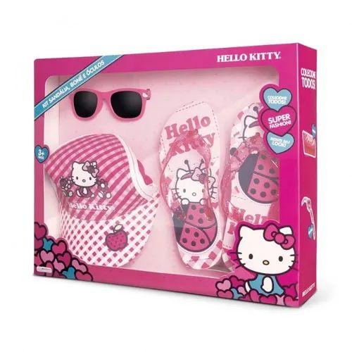 Hello Kitty Kit com chinelo, Boné e óculos