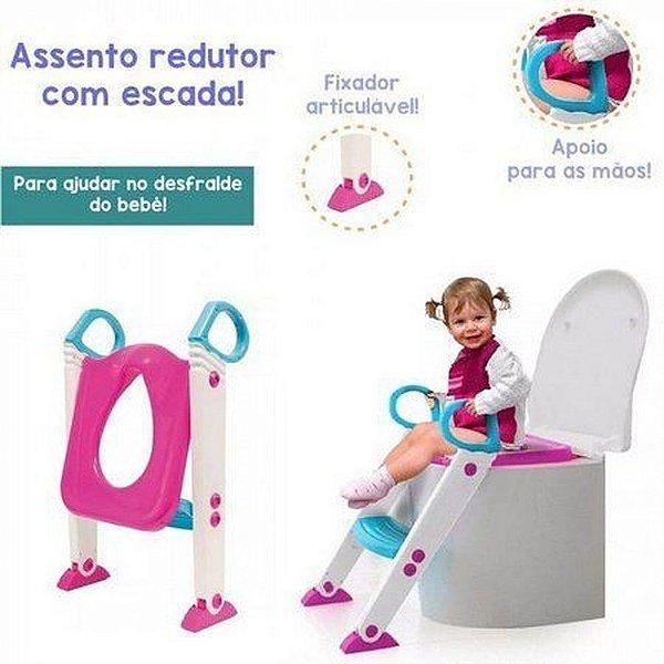 Assento Redutor Com Escada Rosa