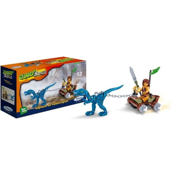 Blocos para montar Dino Saga - Captura do Velociraptor