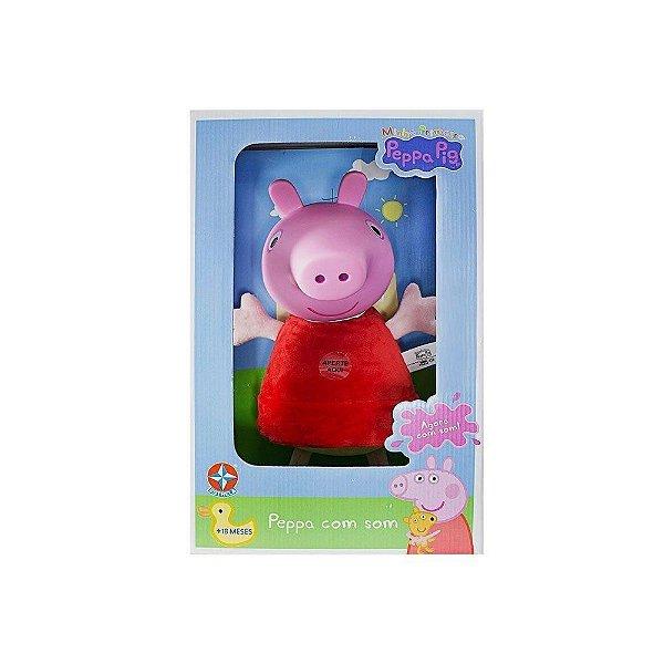 Boneca Peppa Pig com Som e Cabeça de Vinil