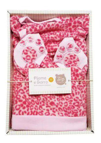 Kit Pijama e Gorro Estampado Rosa