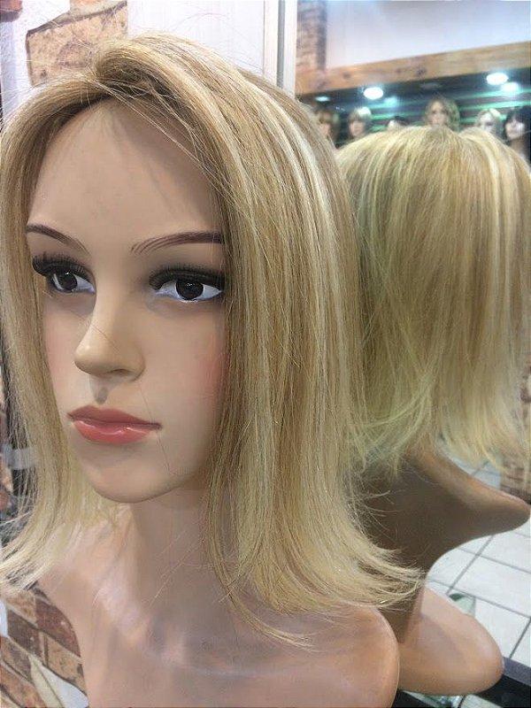 protese capilar feminina micropele loiro com mechas